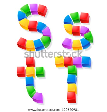 Alphabet of children's blocks. Vector illustration of funny cube font. Letters s t - stock vector