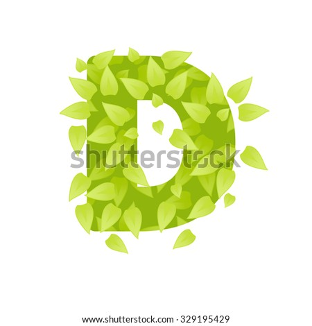 Alphabet of green grass on white background. Grass abc font. Vector illustration of letter D of green leaves. Letter of grass alphabet. Font D uppercase  with grass texture
