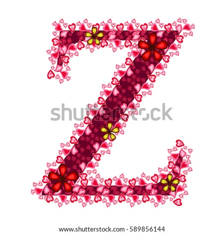 Alphabet Of Hearts Z Red Letter With And Flowers For Your Design Flat