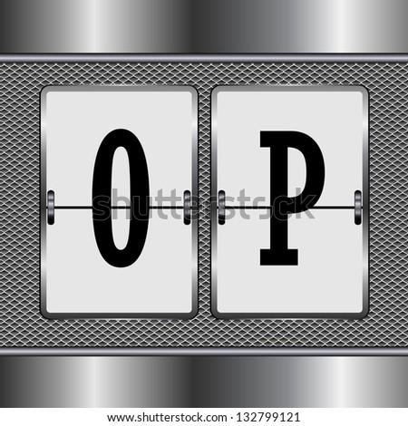 alphabet of mechanical O-P - stock vector