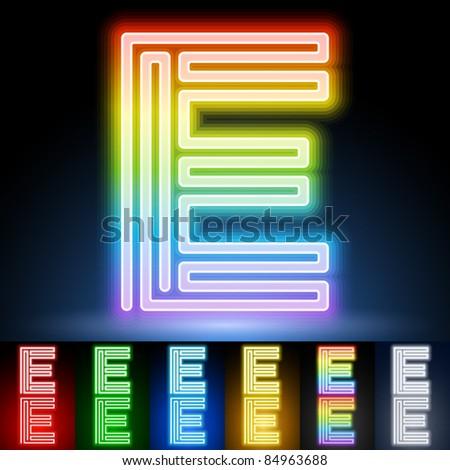 Alphabet of neon tubes. letter e - stock vector