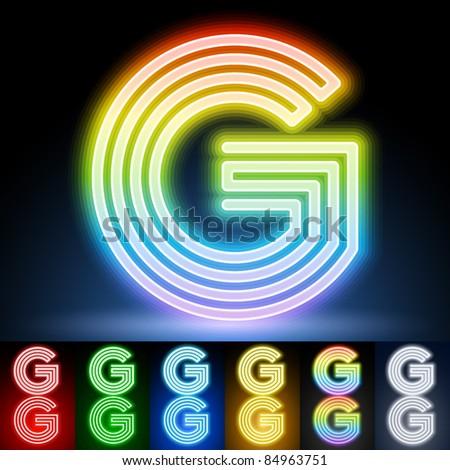 Alphabet of neon tubes. letter g - stock vector