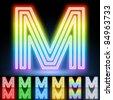 Alphabet of neon tubes. letter m - stock photo