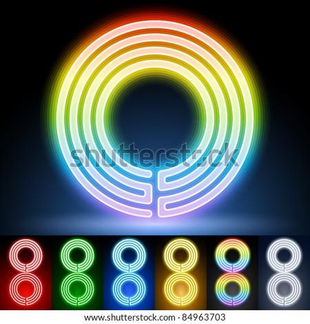 Alphabet of neon tubes. letter o - stock vector