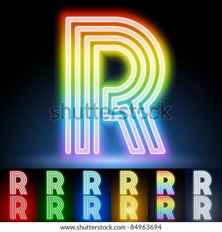 Alphabet of neon tubes. letter r - stock vector