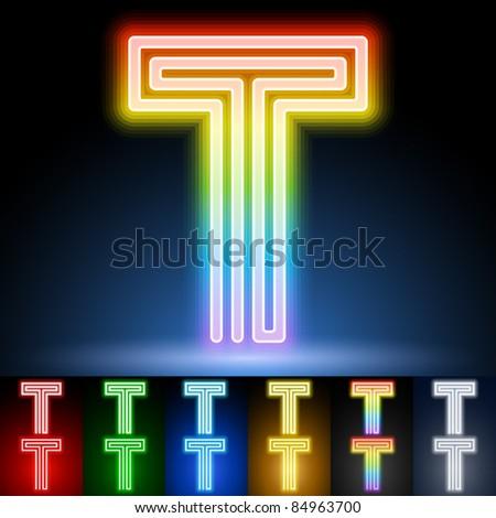 Alphabet of neon tubes. letter t - stock vector