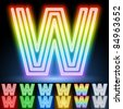 Alphabet of neon tubes. letter w - stock photo