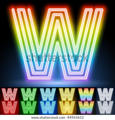 Alphabet of neon tubes. letter w - stock vector