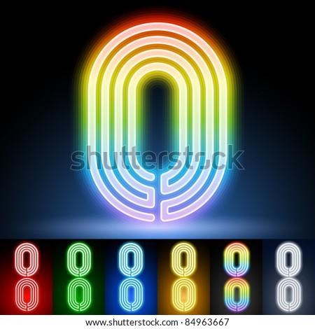 Alphabet of neon tubes. letter zeto - stock vector