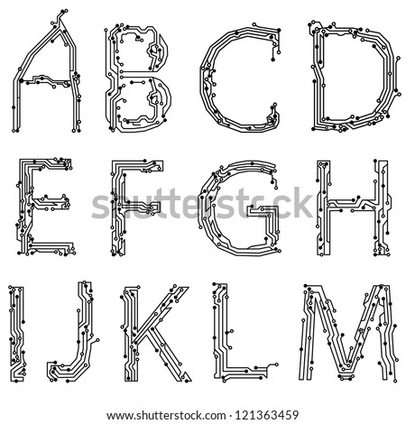 Alphabet of printed circuit boards. Easy to edit.Abstract circuit board background texture. Vector. Lowercase A-M - stock vector