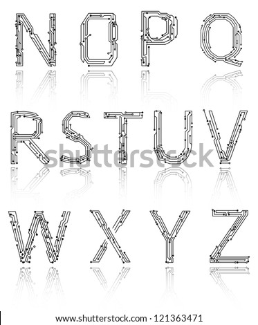 Alphabet of printed circuit boards. Easy to edit.Abstract circuit board background texture. Vector. Lowercase N-Z. Vector EPS 10 - stock vector