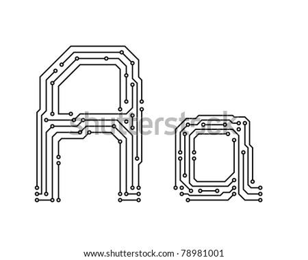Alphabet of printed circuit boards. Easy to edit. Letter A - stock vector