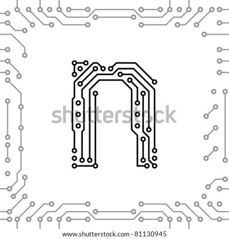 Alphabet of printed circuit boards. Easy to edit. Lowercase N - stock vector