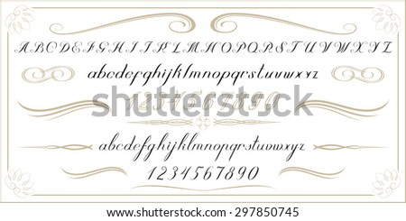 ALPHABET Old handwritten letters and numbers - stock vector