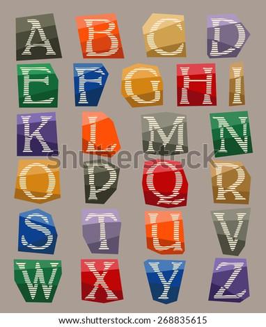alphabet on color carton pieces illustration - stock vector