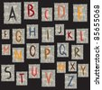 Alphabet on textured background - stock vector