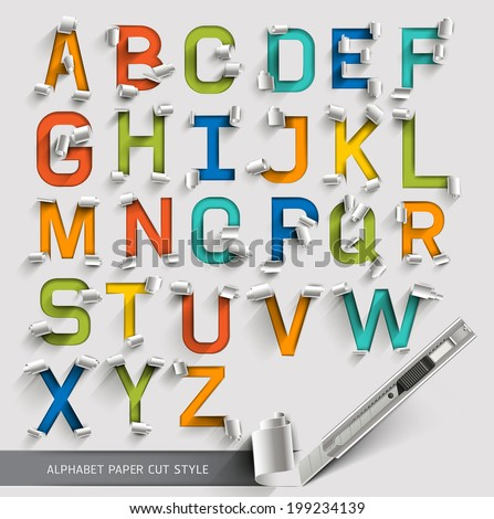 Alphabet paper cut colorful font style. Vector illustration. - stock vector