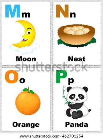 Alphabet Printable Flashcards Collection Letter M Stock
