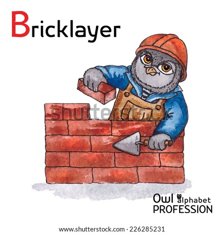 Alphabet professions Owl Letter B - Bricklayer Vector Watercolor - stock vector