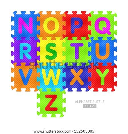 Alphabet puzzle. Vector. - stock vector