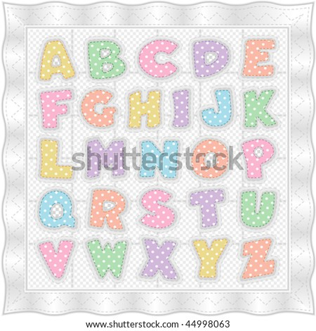 Alphabet Quilt Old Fashioned Vintage Baby Stock Vector 44998063 ...