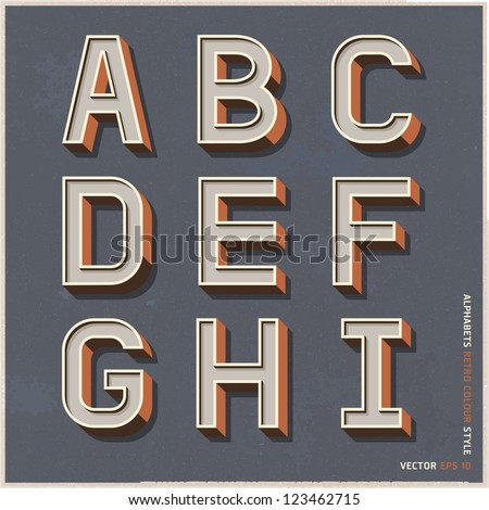 Alphabet retro colour style. Vector illustration. - stock vector