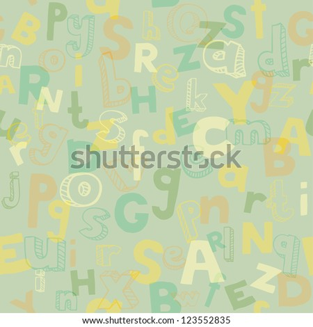 Alphabet seamless texture with different scribble letters. Template for design and decoration - stock vector