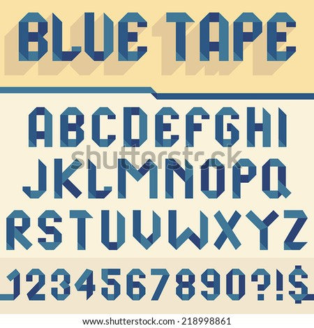 Alphabet set folded of blue tape - stock vector