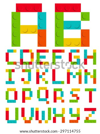 Alphabet Set Made of Toy Construction Brick Blocks Isolated White Vector Illustration EPS10 - stock vector