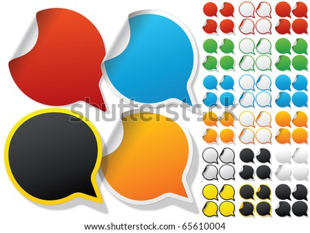 Alphabet set of symbols in the form of stickers on matte paper. Character q - stock vector