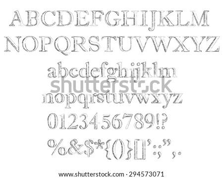 Alphabet set. Pencil texture handwriting font. Vector illustration. - stock vector