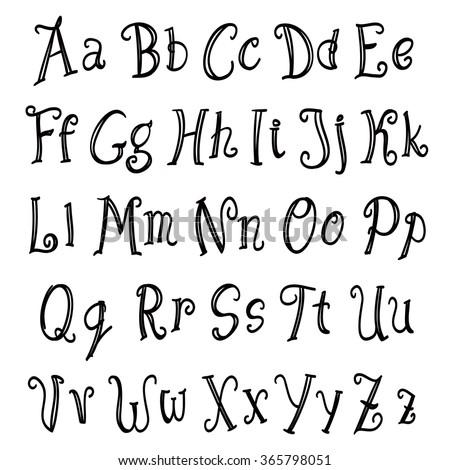 Vector Handwritten Alphabet Uppercase Lowercase Letters Stock ...