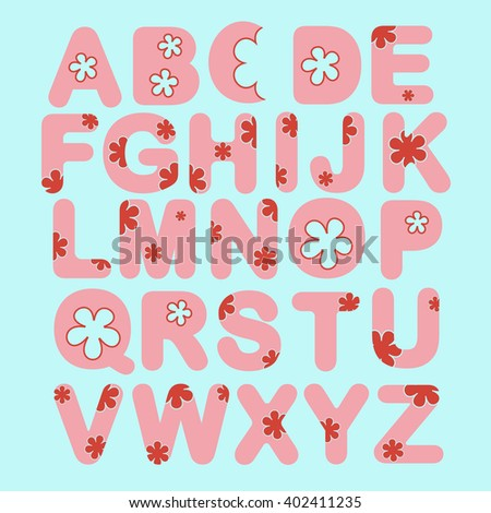 Alphabet set with flowers. ABC pink vector letters. Fun alphabet design, vector illustration - stock vector