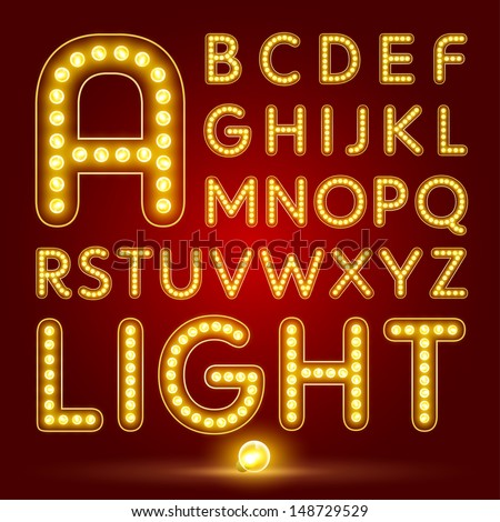 Alphabet set with realistic lamp, vector illustration. can be used for christmas / happy new year / happy birthday and more. - stock vector