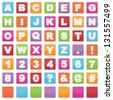 alphabet shapes on square signs, with letters, numbers and blanks, isolated on white - stock vector