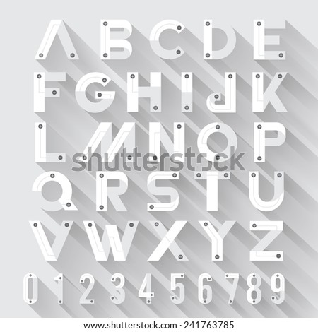 Alphabet strong style with flat design & long shadow white background - stock vector