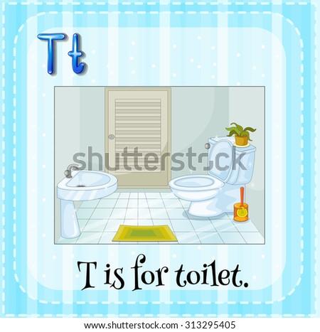 Alphabet T is for toilet illustration - stock vector