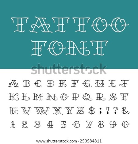 Tattoo font vintage style alphabet letters stock vector for Traditional tattoo fonts