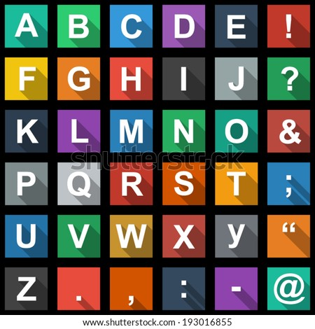Alphabet, text Symbols Flat Icons Set with long shadow - stock vector