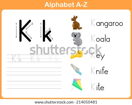 Alphabet Tracing Worksheet Writing Az Stock Vector 214050499 ...