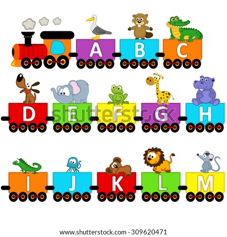 alphabet train animals from A to M - vector illustration, eps - stock vector