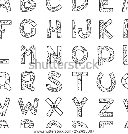 Alphabet Vector Seamless Pattern Cute Doodle Letters