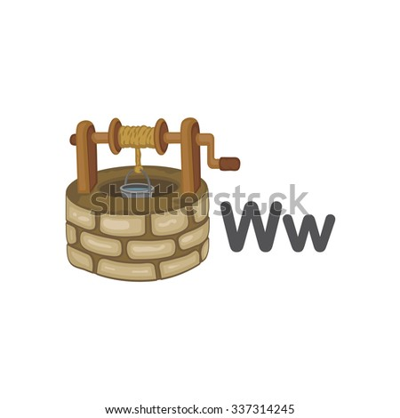 Alphabet - W is for Well - stock vector