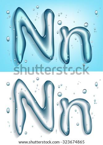 alphabet water, letter n - stock vector