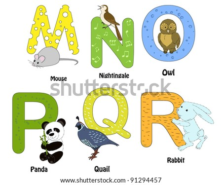 Alphabet with animals - from M to R - stock vector