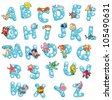 Alphabet with fish and bubbles. Funny cartoon and vector isolated letters. - stock photo