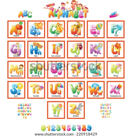 Alphabet with pictures for children  - stock vector