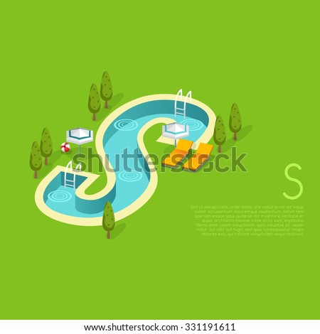 Alphabet with pool party elements : Letter S : Vector Illustration