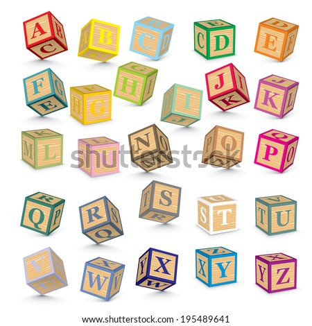 Alphabet written with blocks - vector illustration - stock vector