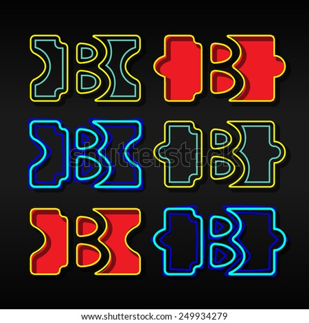 Alphabet written with puzzle - Letter  B - stock vector